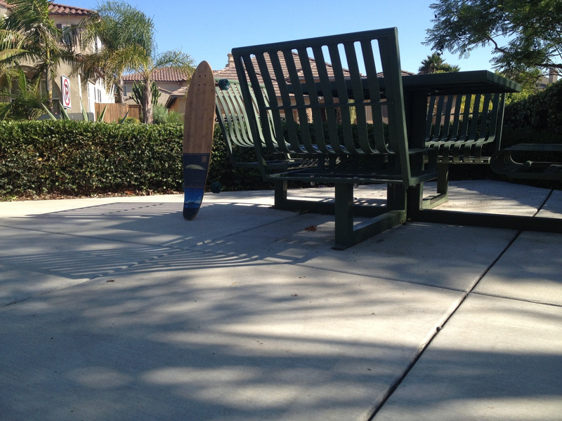 Longboard against table