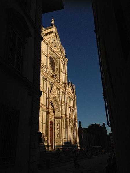 Front of Santa Croce from allleyway by BradAndDebbie