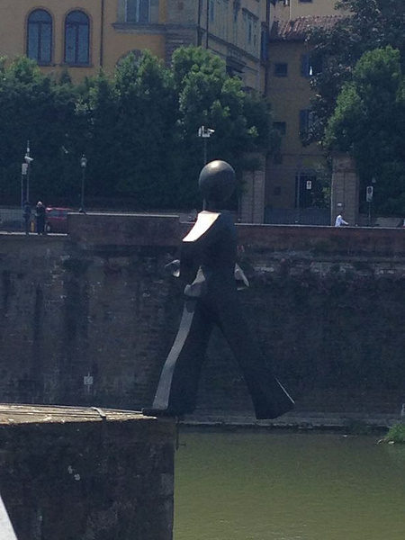 Some art over Arno - yes, he is stepping off by BradAndDebbie