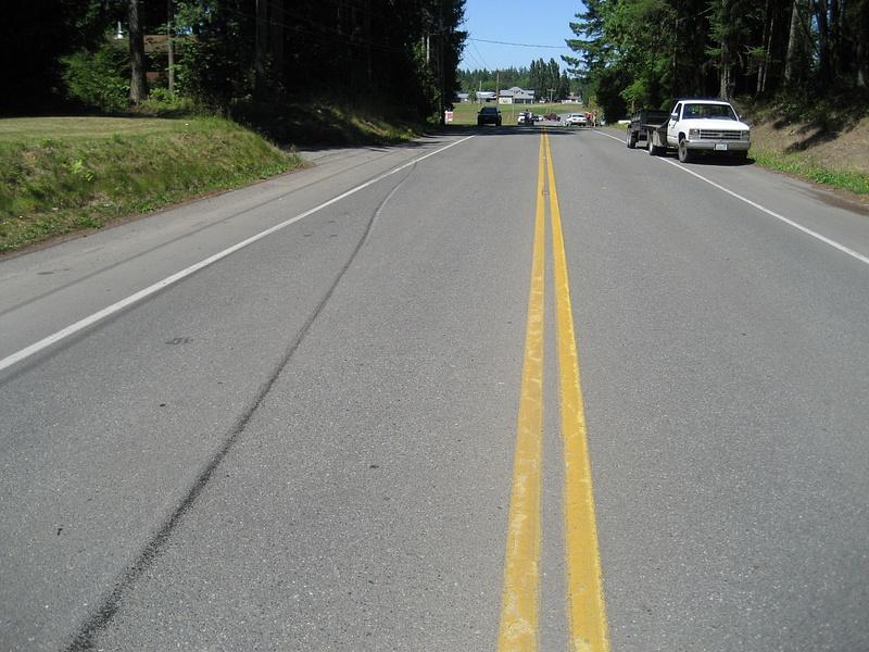 slide marks on road