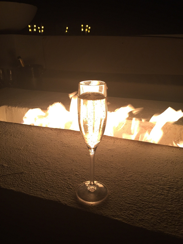 Champagne by the fire pit
