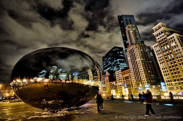 The Bean again. A different view of it showing the reflection of the high-rises