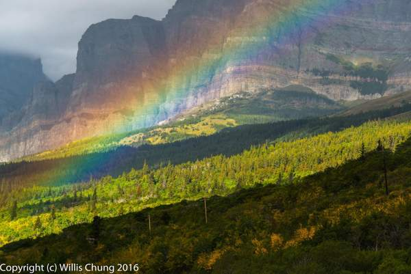 Rainbow and bands of light and shadow, Many Glaciers region, Glacier Natl Park