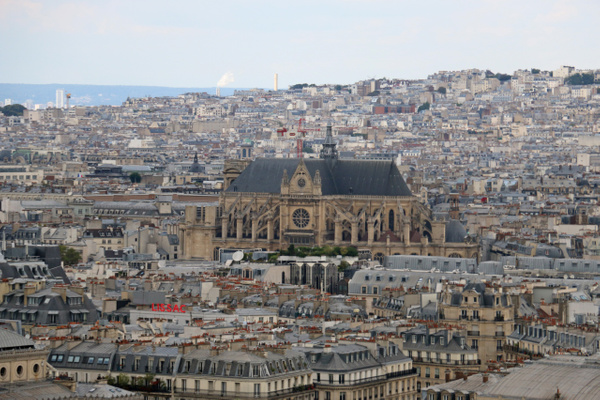 Center-The Church of Saint Eustache viewed from atop Notre Dame