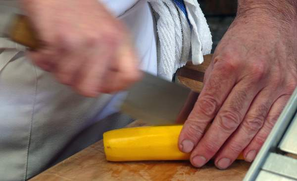 Watch Your Fingers - Cooking Demo at the Farmer's Market at Point Reyes Station