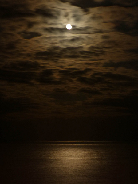 The Moon Over Eastbourne Beach (March 2013) by James Borland
