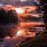 2016 Foggy Sunrise on Lake Gitchegumee in Buckley, Michigan