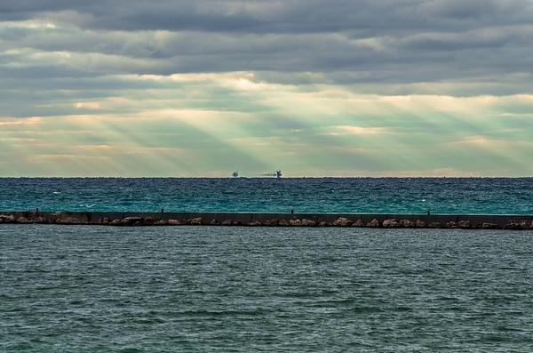 2016 Frankfort Pier Light in October by SDNowakowski