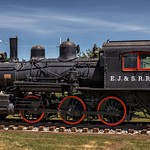 2017 EJ&S #6 Steam Locomotive sitting in a Park in East Jordan, Michigan