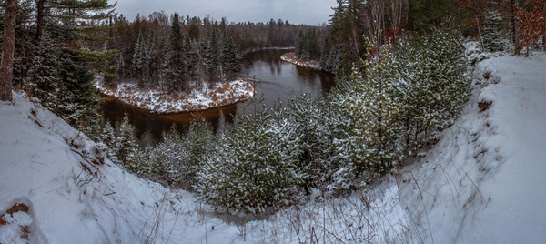 2017 Panoramic Photos of the Manistee River after a Light Snow by SDNowakowski