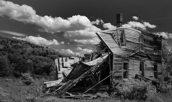 Home In Disrepair In Black and White
