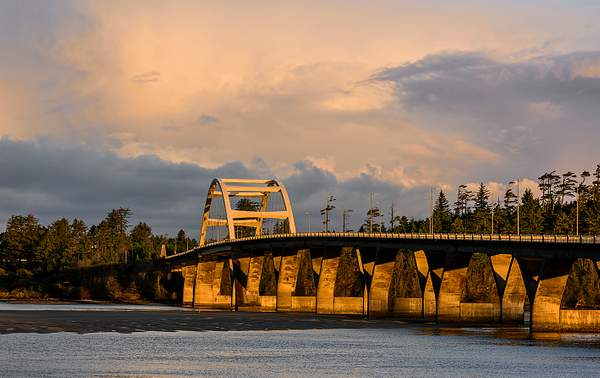 Golden Light On Waldport Bridge As the Sun Comes Up 222