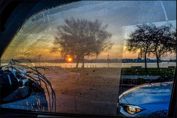 Sunrise by a car window 222