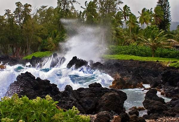 Heavy Surf and Wind on the Hana Coast, Maui, Hawaii