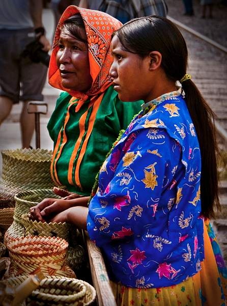 Tarahumara Indian women sell their baskets at Divisadero, Mexico 222