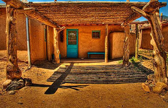 roof and shadows. Taos