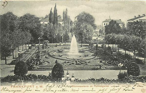 GERMANY-FRANKFURT-BLUMENPARTERRE-PALMENGARTEN-PALM GARDEN-FOUNTAIN-1903 222
