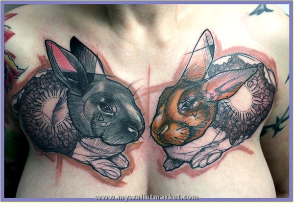 abstract-tattoo-of-two-rabbits-with-hearts-mandalas-and-flower-symbolism by catherinebrightman