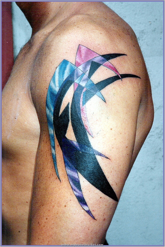 blue-pink-purple-abstract-upper-arm-tattoo