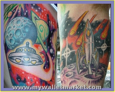 amazing-colored-ink-alien-tattoo-on-half-sleeve by catherinebrightman