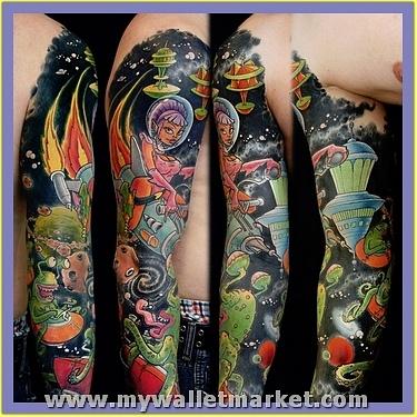 alien-spaceships-sleeve-tattoo by catherinebrightman