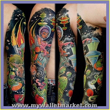 alien-spaceships-sleeve-tattoo