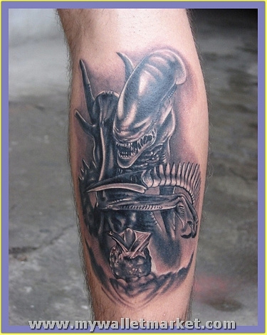 best-grey-ink-alien-tattoo-on-back-leg by catherinebrightman