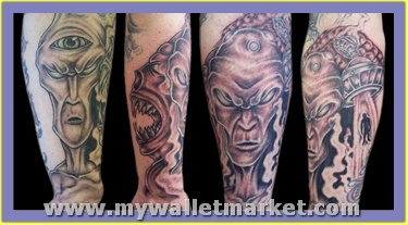 grey-ink-alien-tattoos by catherinebrightman