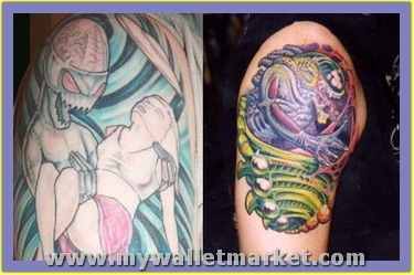 colored-ink-alien-with-girl-and-alien-tattoos-on-shoulders by catherinebrightman