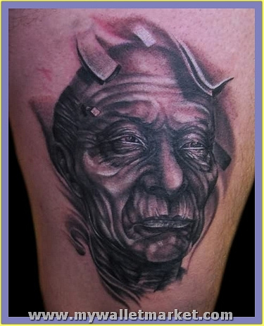 old-alien-face-tattoo by catherinebrightman
