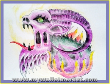 pink-color-alien-snake-tattoo-design by catherinebrightman