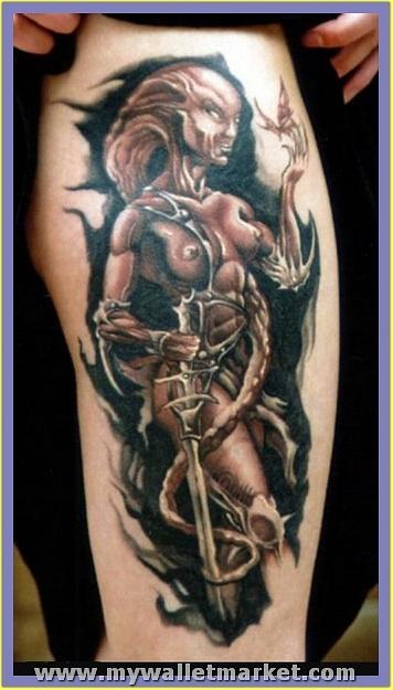 wonderful-fighter-alien-woman-tattoo-design