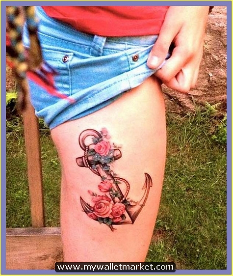17-anchor-rose-tattoo-on-leg by catherinebrightman