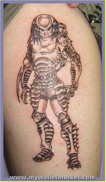 standing-alien-tattoo-on-biceps by catherinebrightman