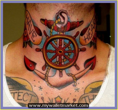 anchor-and-wheel-tattoo-on-neck by catherinebrightman