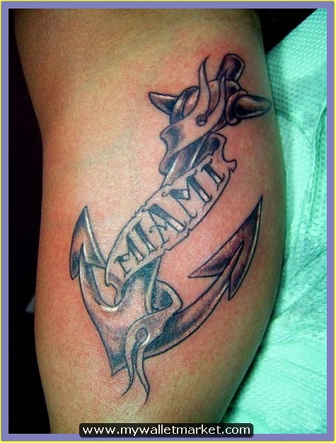 grey-anchor-tattoo-with-miami-banner-tattoo