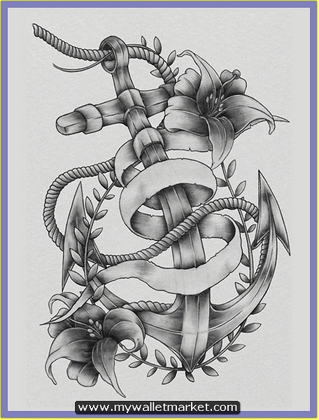 grey-ink-anchor-tattoo-with-rope-flowers by catherinebrightman