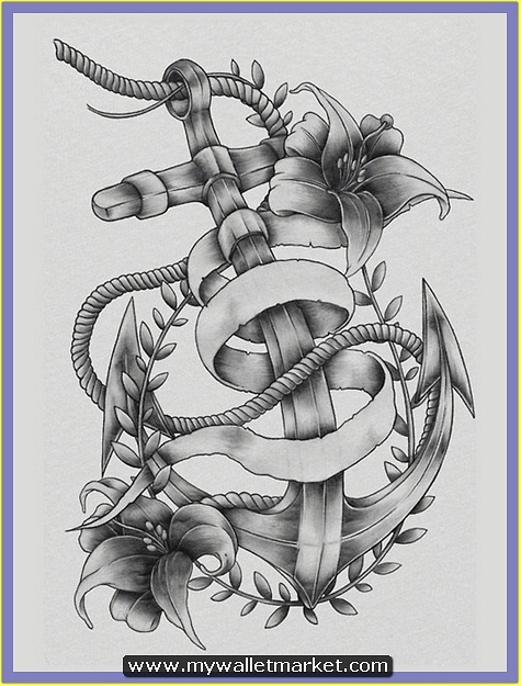 grey-ink-anchor-tattoo-with-rope-flowers