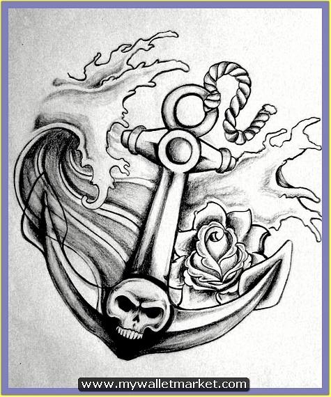 grey-skull-anchor-tattoo-design by catherinebrightman