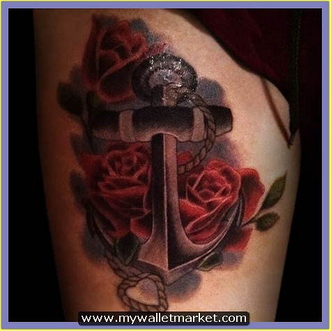 classic-red-rose-and-anchor-tattoo by catherinebrightman